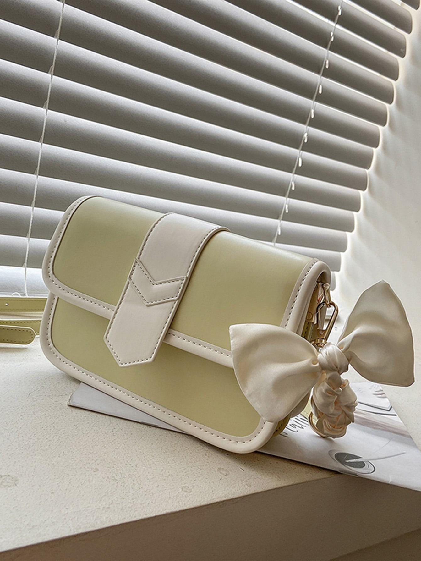 contrast binding flap crossbody bag
