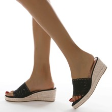 Lace Panel Wedge Mules
