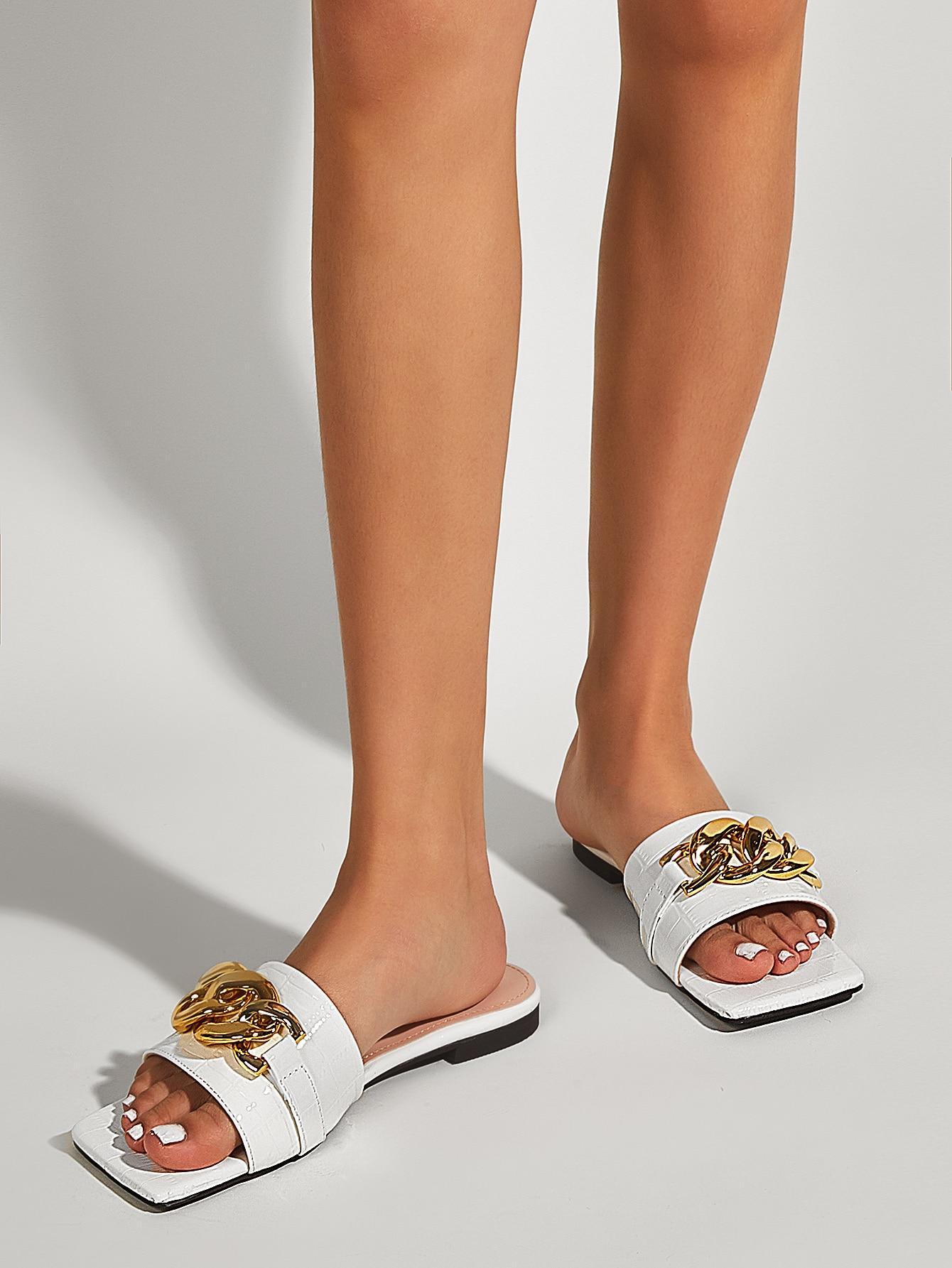 croc embossed chain decor slide sandals