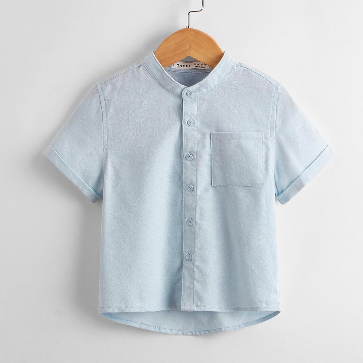Однобортная рубашка с воротником-стойкой для мальчиков