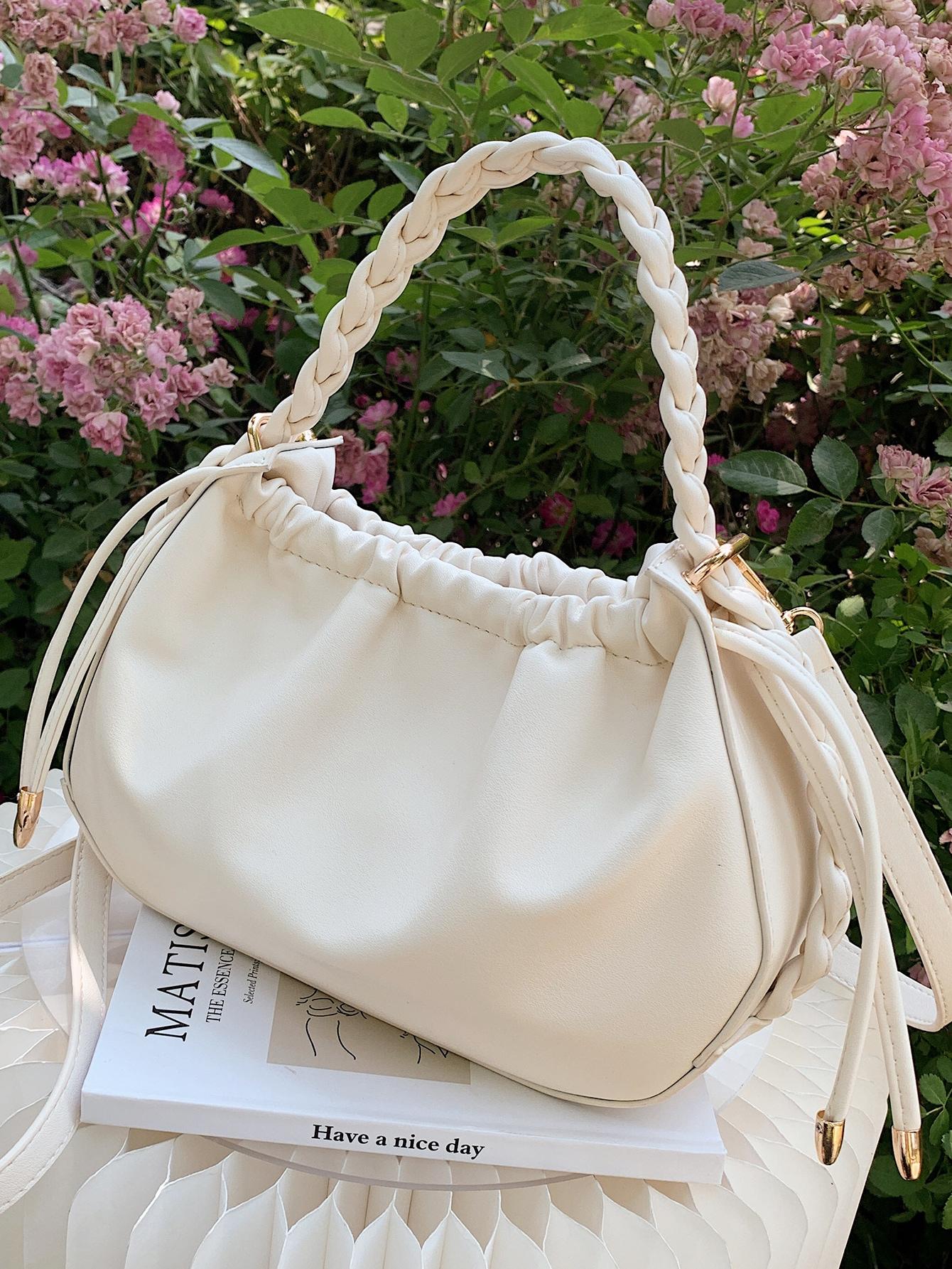 braided handle drawstring satchel bag