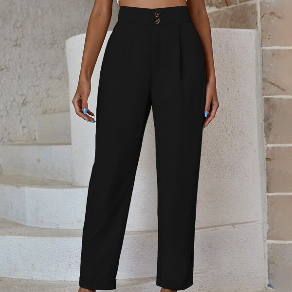 Solid Button Fly Tailored Pants, Black