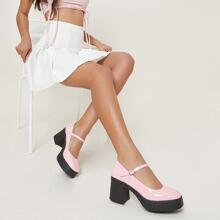 Faux Patent Leather Ankle Strap Block Heeled Pumps