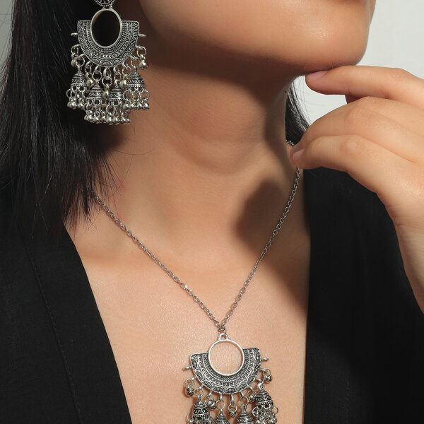 1pc Necklace & 1pair Drop Jhumka Earrings, Antique silver