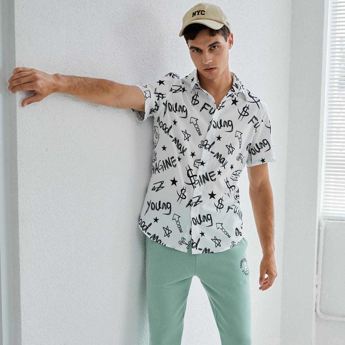Мужской Рубашка с текстовым и графическим принтом SheIn smshirt07210508675