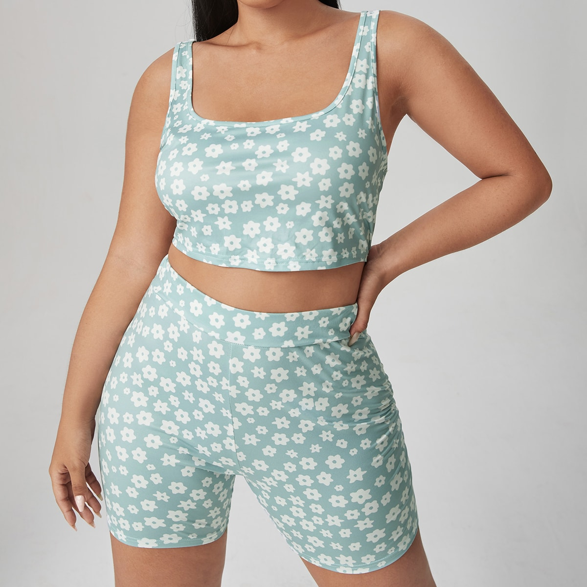 Plus Allover Floral Tank Top & Biker Shorts, SHEIN  - buy with discount
