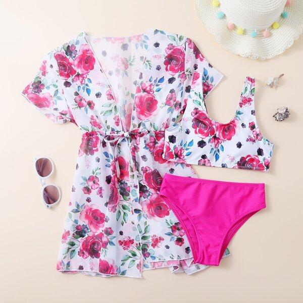 3pack Girls Floral Print Bikini Swimsuit & Kimono, Hot pink
