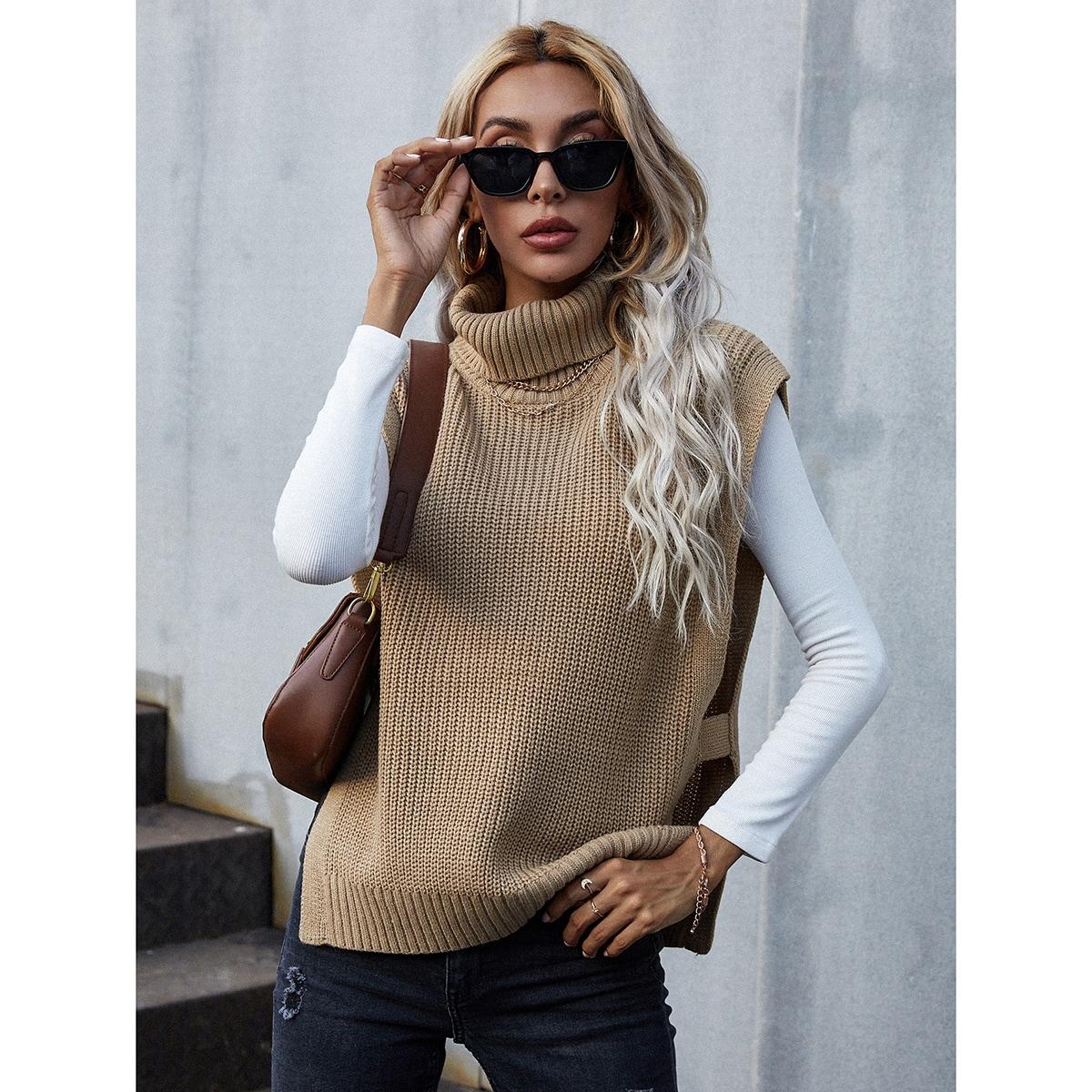High Neck Slit Hem Sweater Vest Without Tee