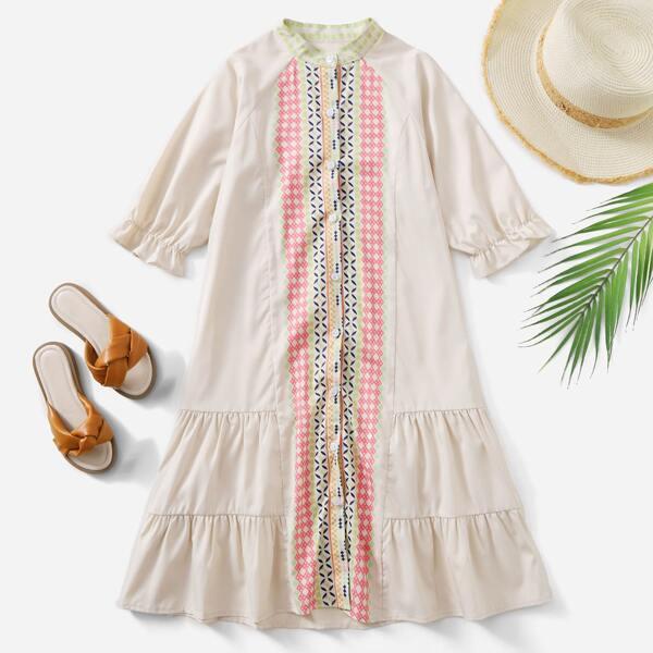 Girls Geo Print Flounce Sleeve Ruffle Hem Dress, Apricot
