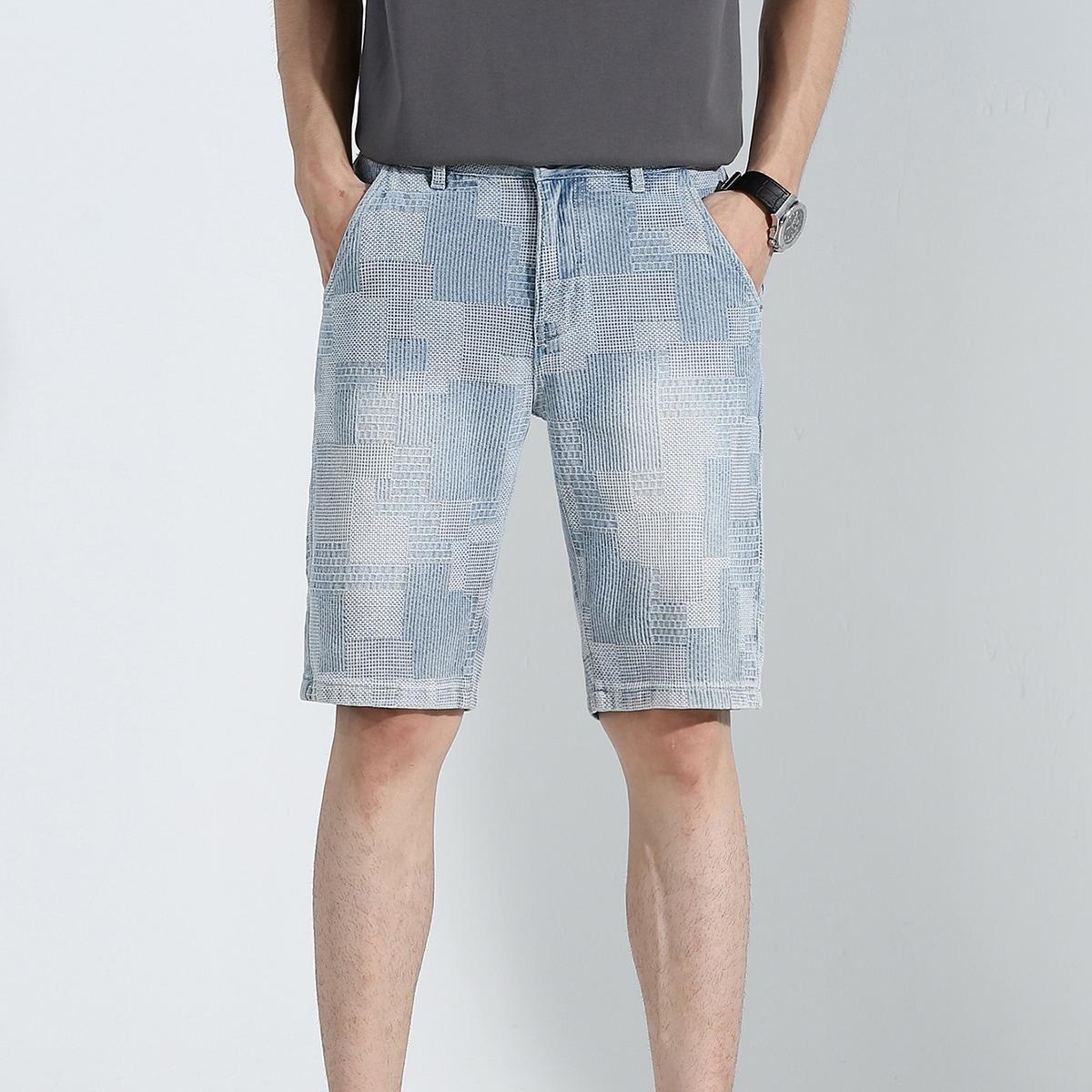 Мужской Джинсовые шорты-бермуды стиранный от SHEIN