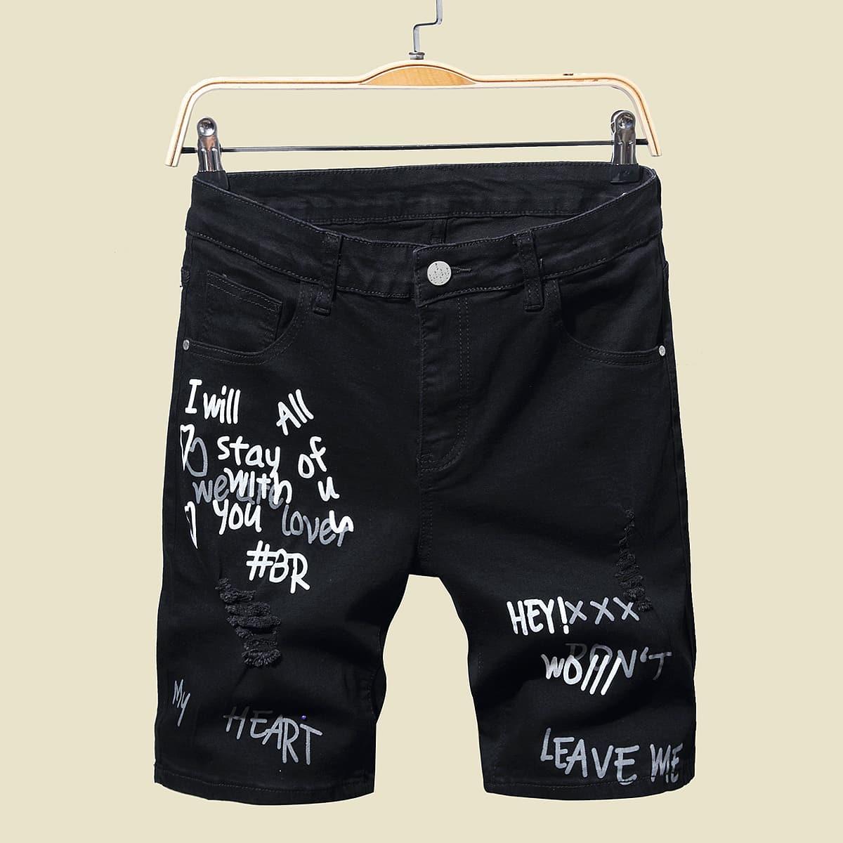 Men Slogan Graphic Denim Shorts, SHEIN  - buy with discount