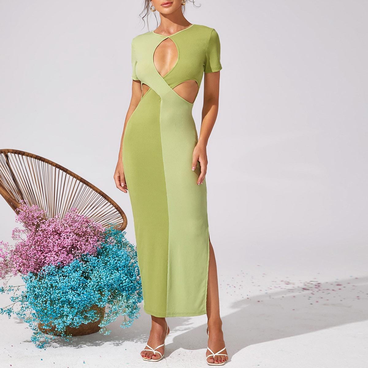 Платье контрастный с разрезом разрез SheIn swdress25210518918
