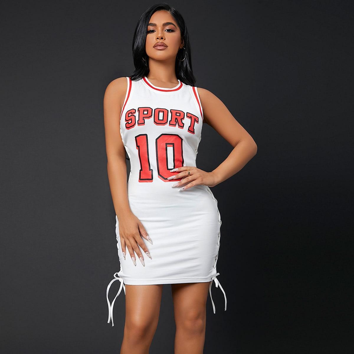Облегающее платье со шнурком с текстовым принтом SheIn swdress07210510064