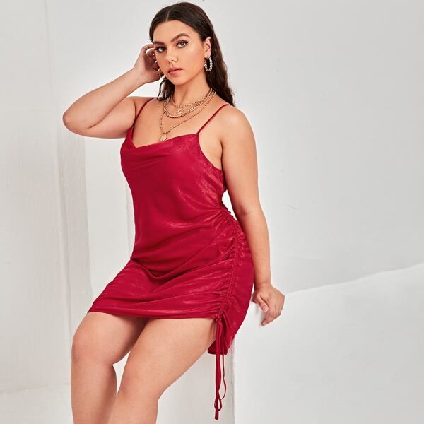 Plus Satin Draped Front Drawstring Side Cami Dress, Burgundy