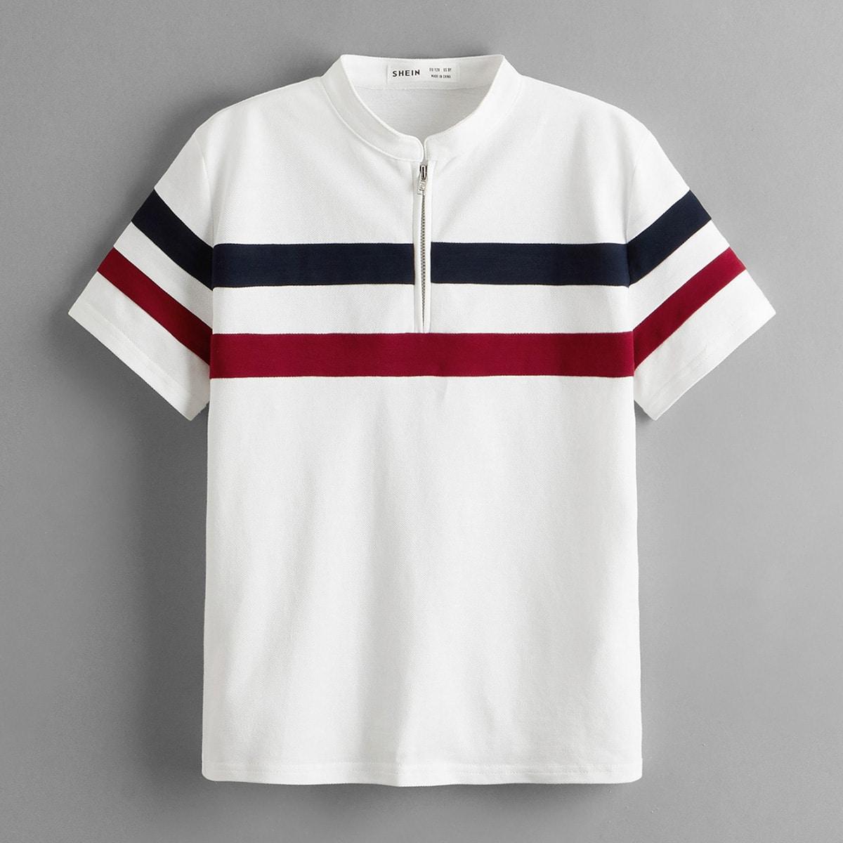 для мальчиков Рубашка-поло на молнии Контрастный
