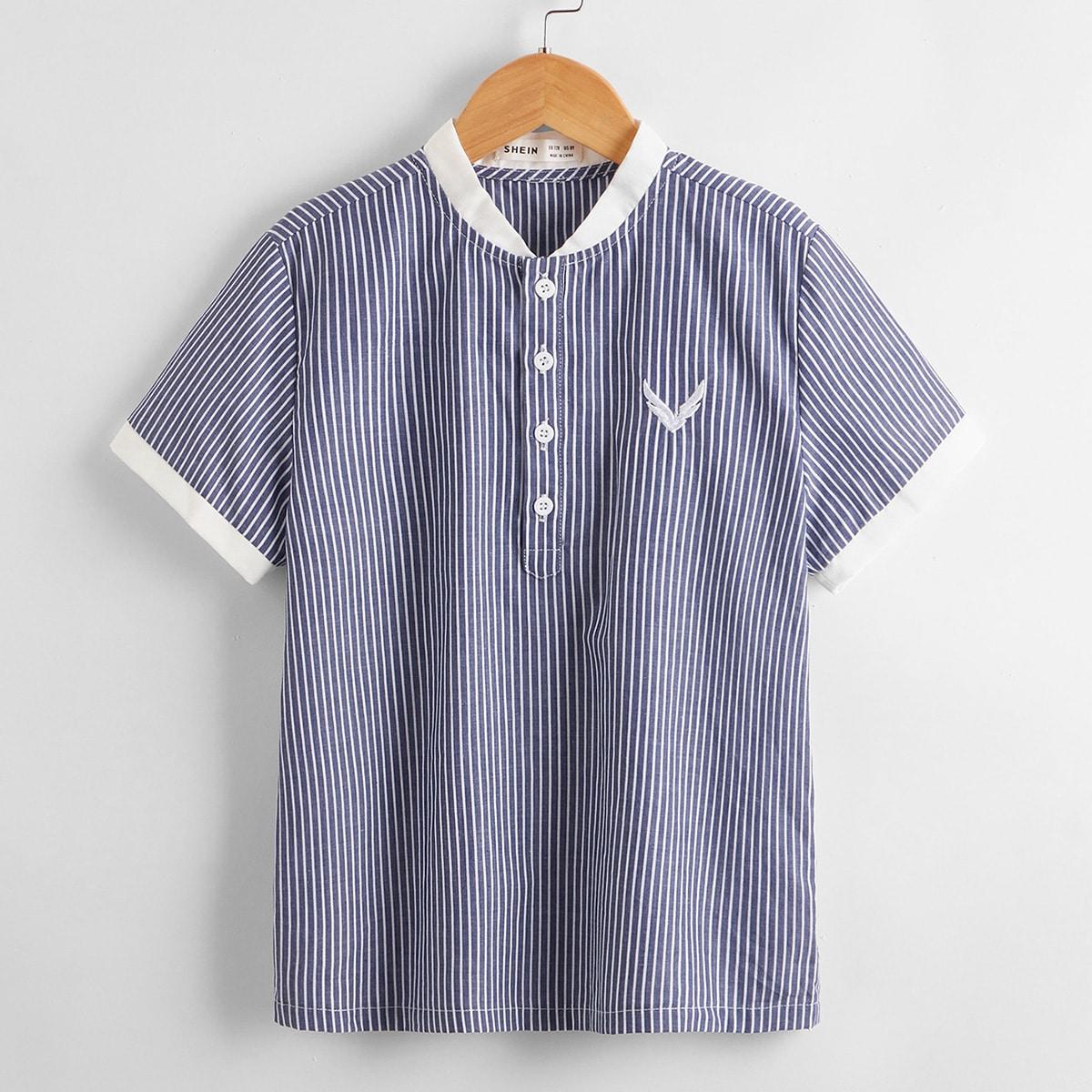 для мальчиков Рубашка с вышивкой в полоску