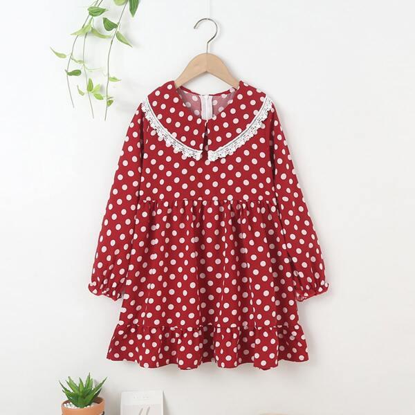 Girls Polka Dot Print Peter-pan Collar Ruffle Hem Dress, Red