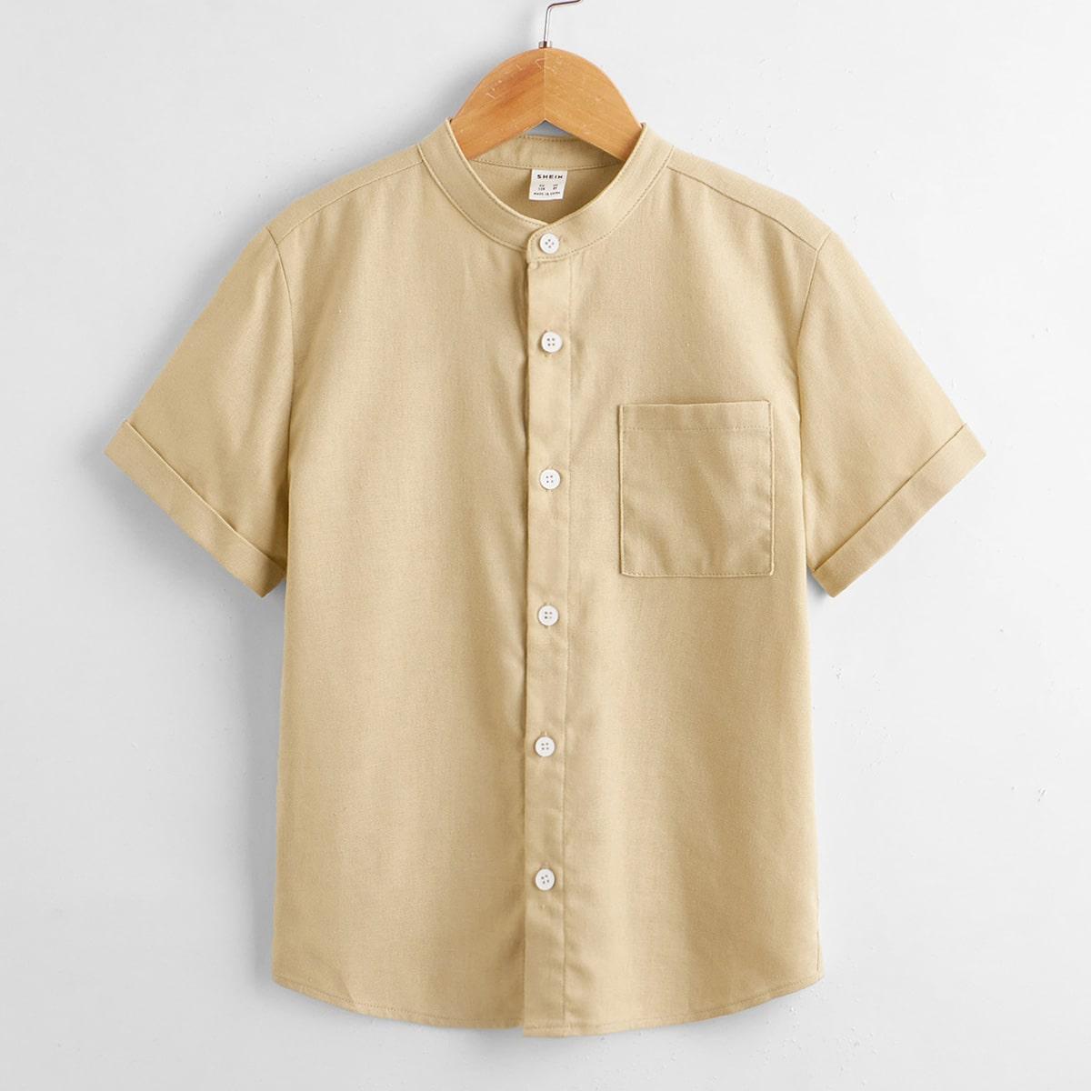 Однотонная рубашка для мальчиков