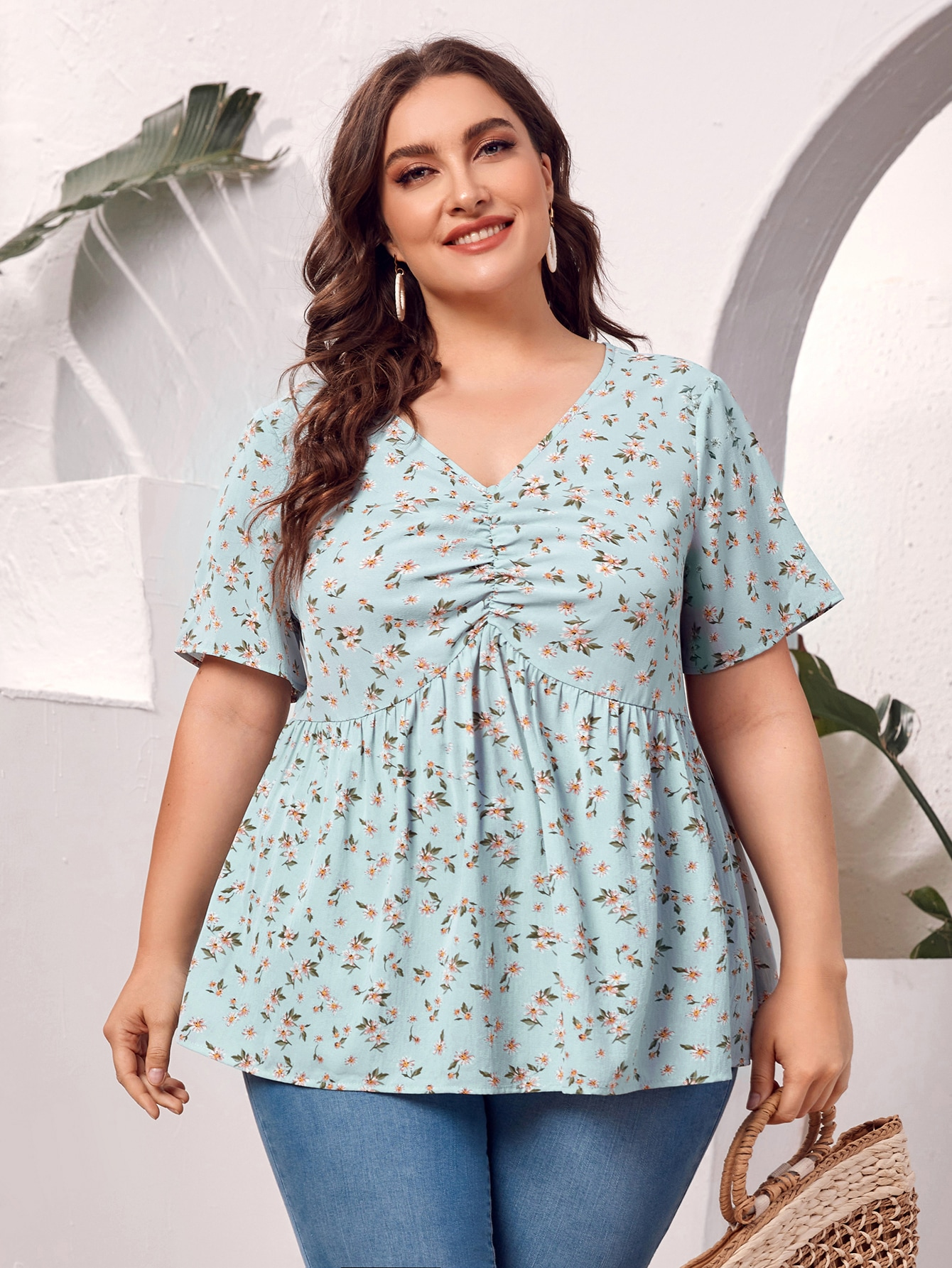 Plus Ruched Bust Daisy Floral Top