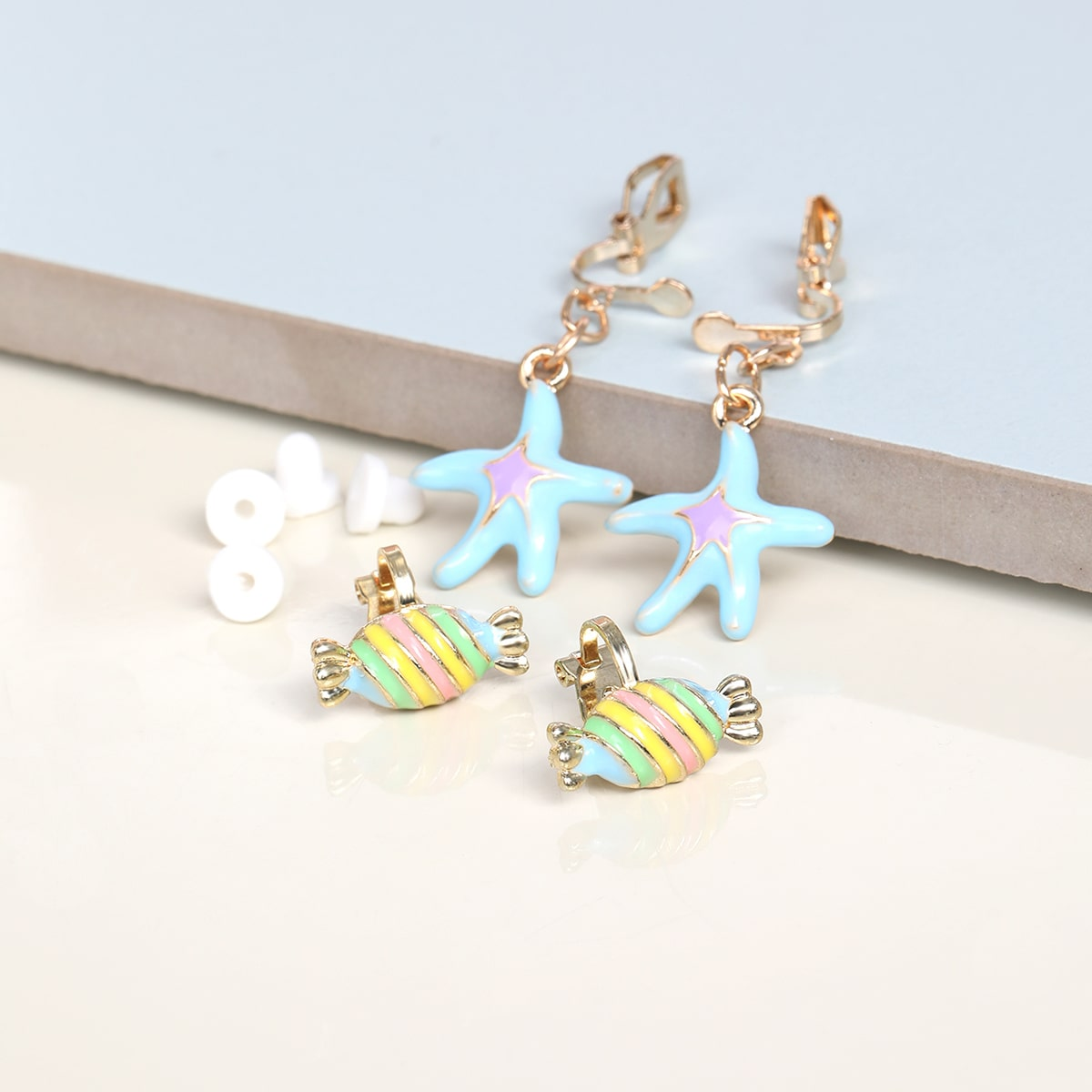 2pairs Starfish Decor Earrings