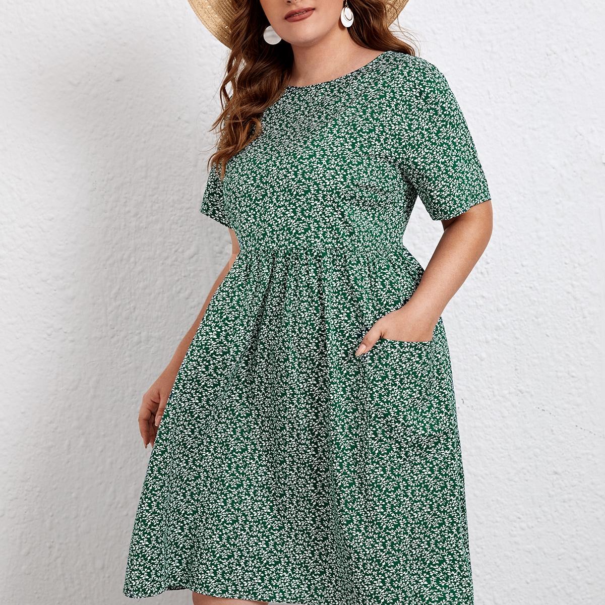 Plus Plants Print Slant Pocket A-line Dress, SHEIN  - buy with discount