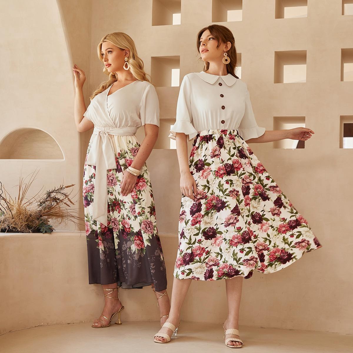 Комбинированное платье с рукавами-воланами цветочным рисунком SheIn swdress07210429179