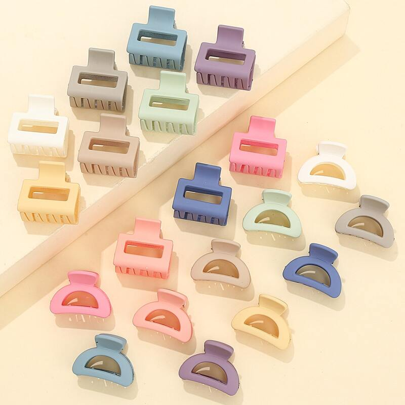 20pcs Solid Hair Claw, Multicolor