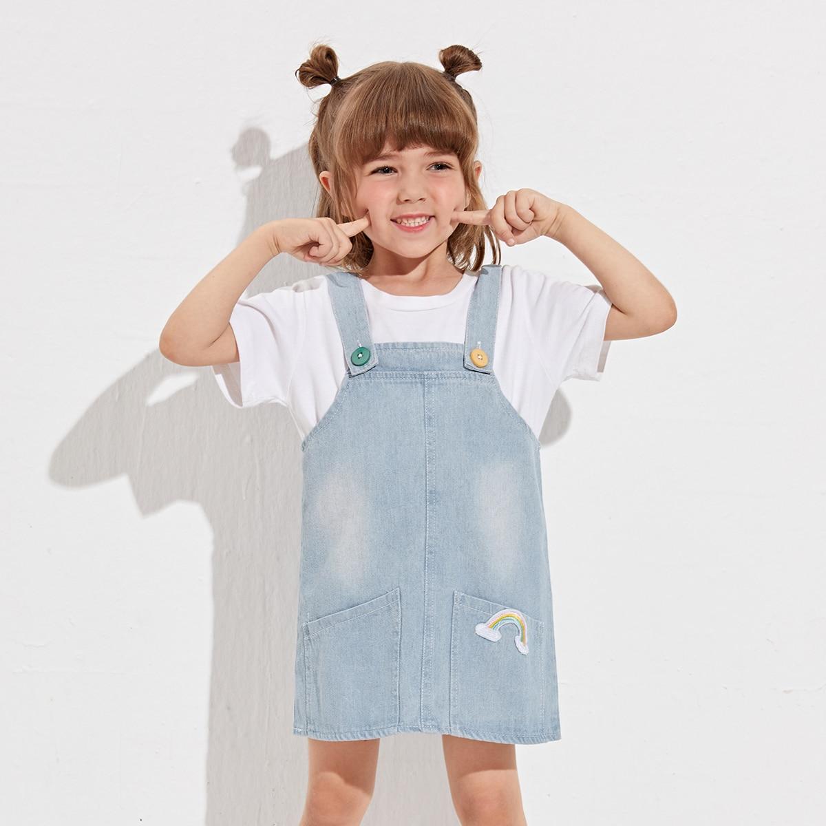 для девочек радуга заплатка Джинсовый комбинезон Платье SheIn skdress25210519439