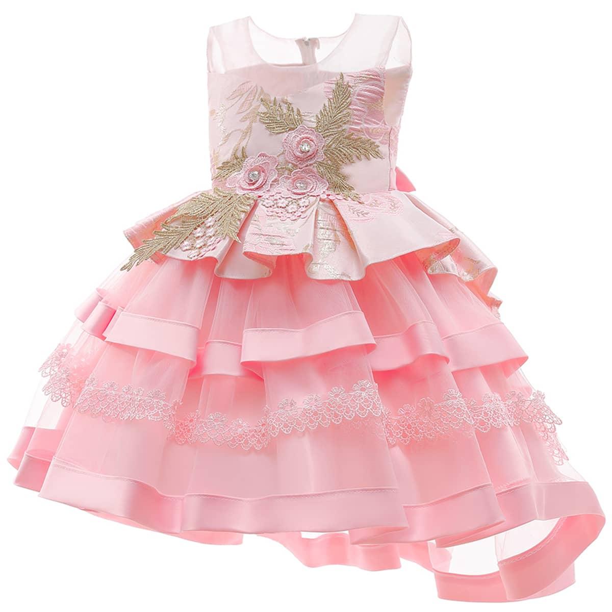 Контрастная сетка с вышивкой узел сзади Многослойный на молнии Со цветочками Очаровательный Нарядное платье для девочек