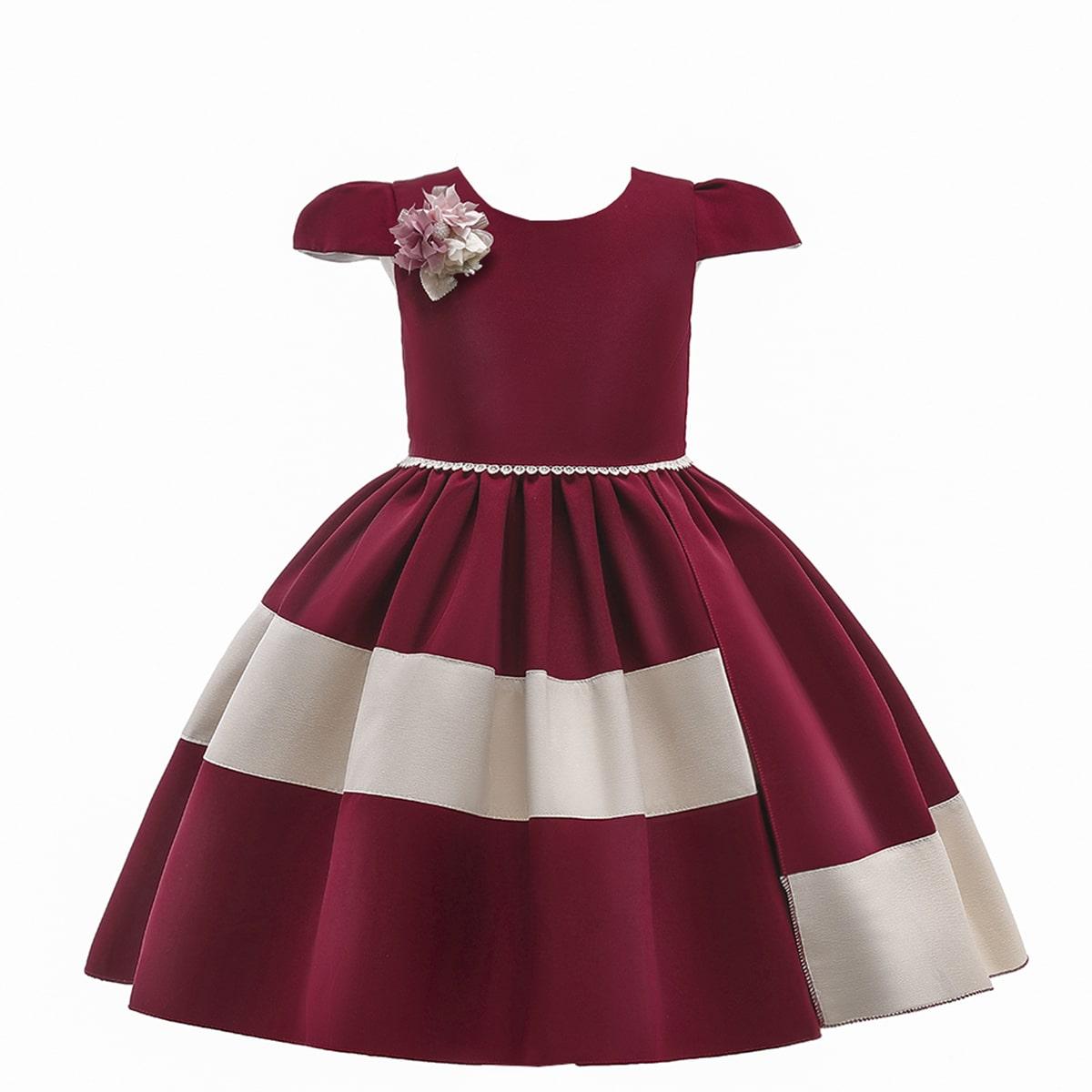 с аппликацией на молнии С бантом сзади Контрастный цвет Очаровательный Нарядное платье для девочек