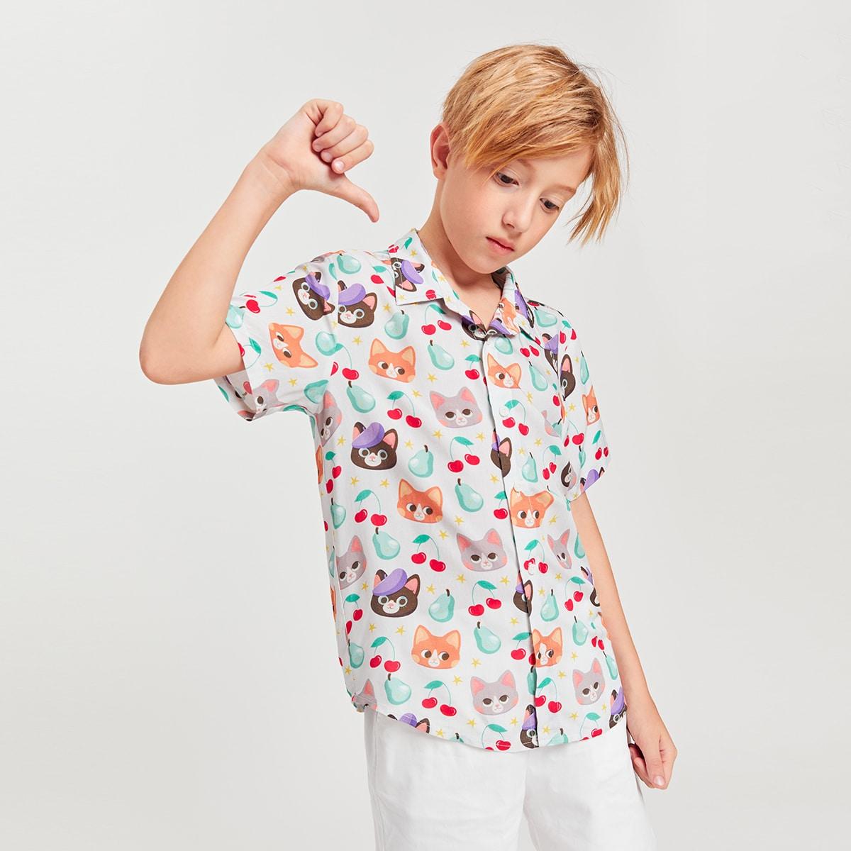 для мальчиков Рубашка с мультипликационным узором
