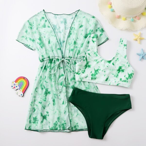 3pack Girls Tie Dye Bikini Swimsuit & Kimono, Green