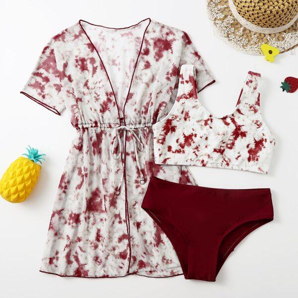 3pack Girls Tie Dye Bikini Swimsuit & Kimono, Red