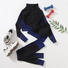 Seamless 3pcs Sports Bra & Sports Jacket & Sports Leggings