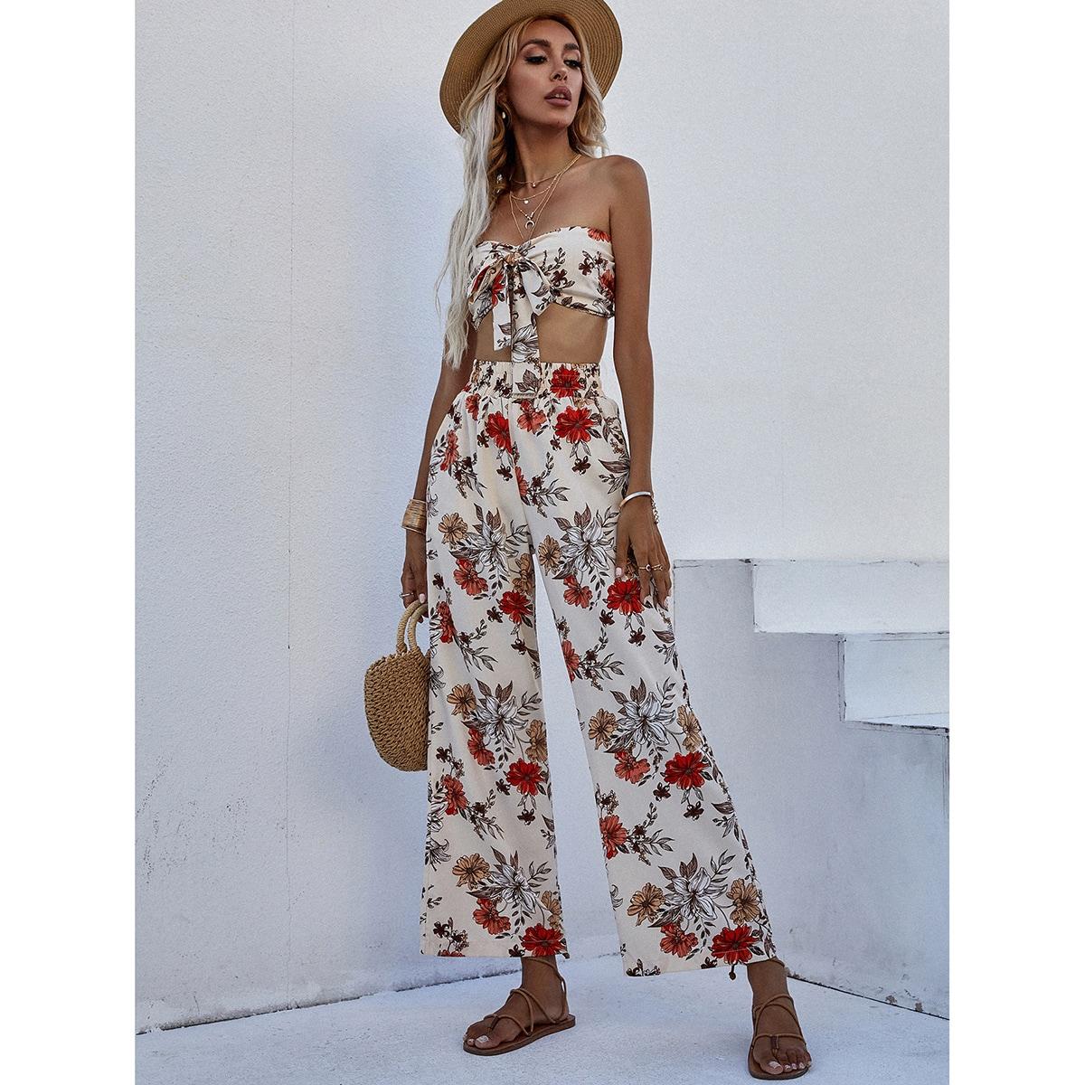 Floral Print Tie Front Tube Top & Elastic Waist Pants Set