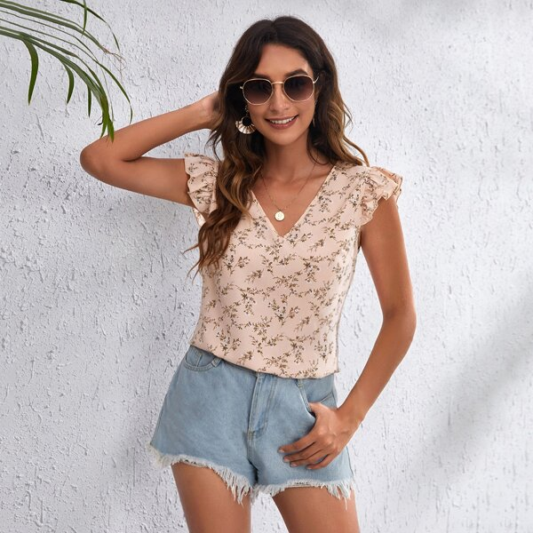 Ruffle Armhole Allover Floral Top, Dusty pink