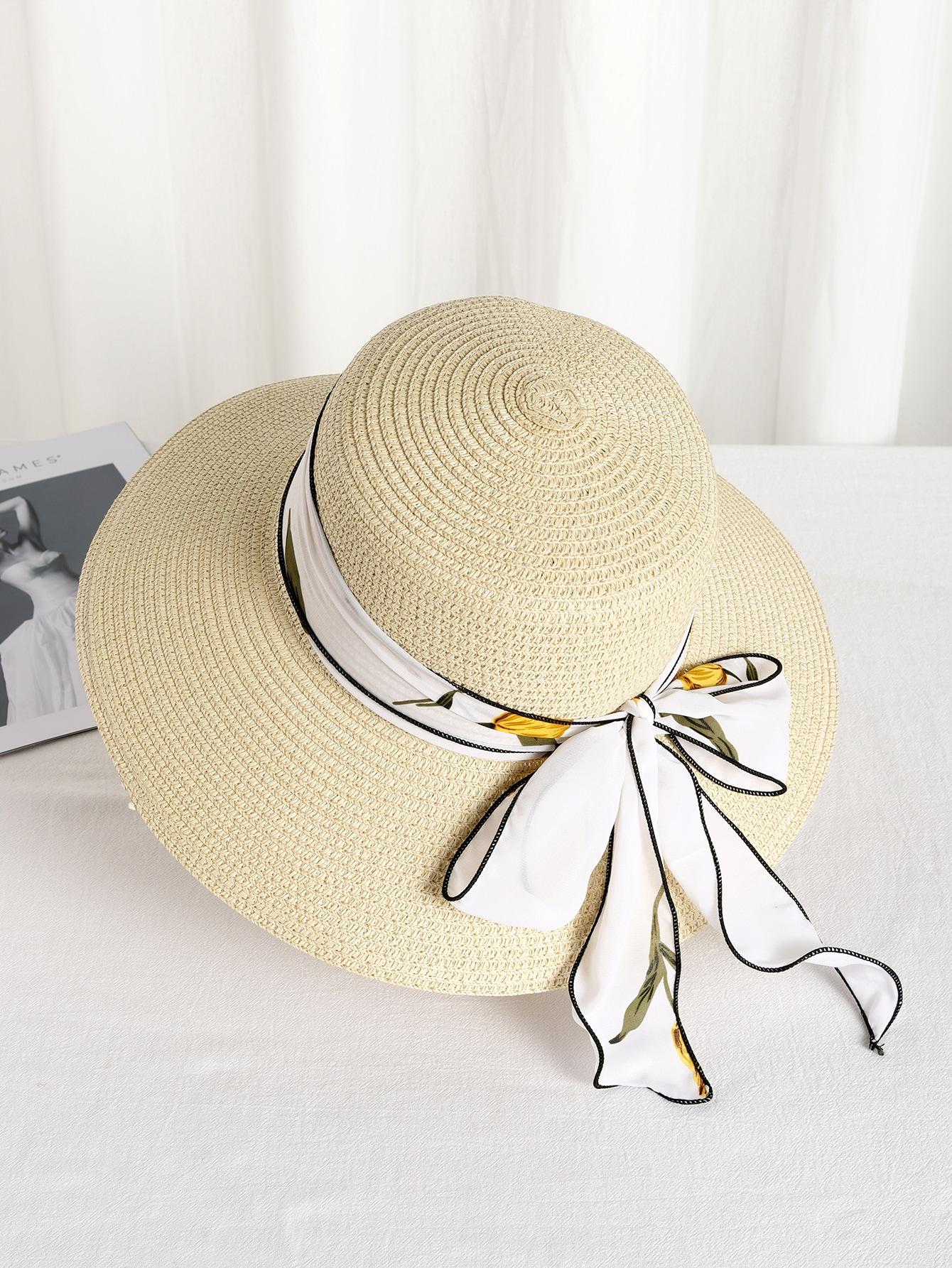 bow decor straw hat