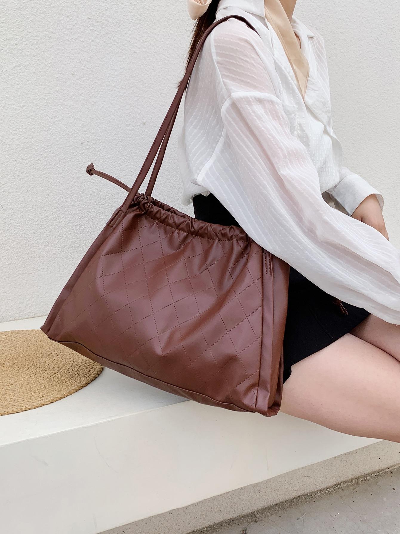 minimalist drawstring design shoulder tote bag