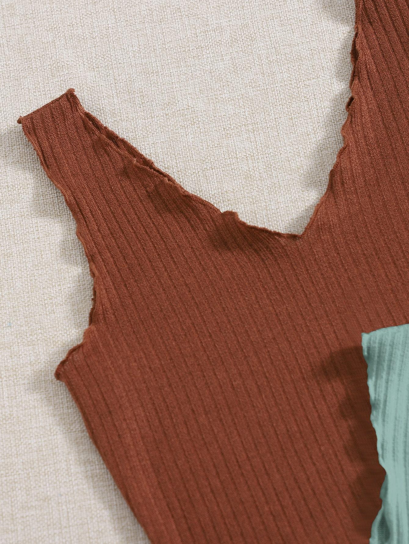 2 Pack V-neck Lettuce Trim Rib-knit Tank Top