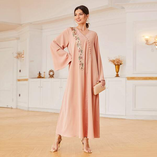 Floral Embroidered Applique Bell Sleeve Button Front Dress, Coral pink