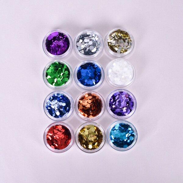 12pcs Geometric Shaped Nail Art Decoration, Multicolor