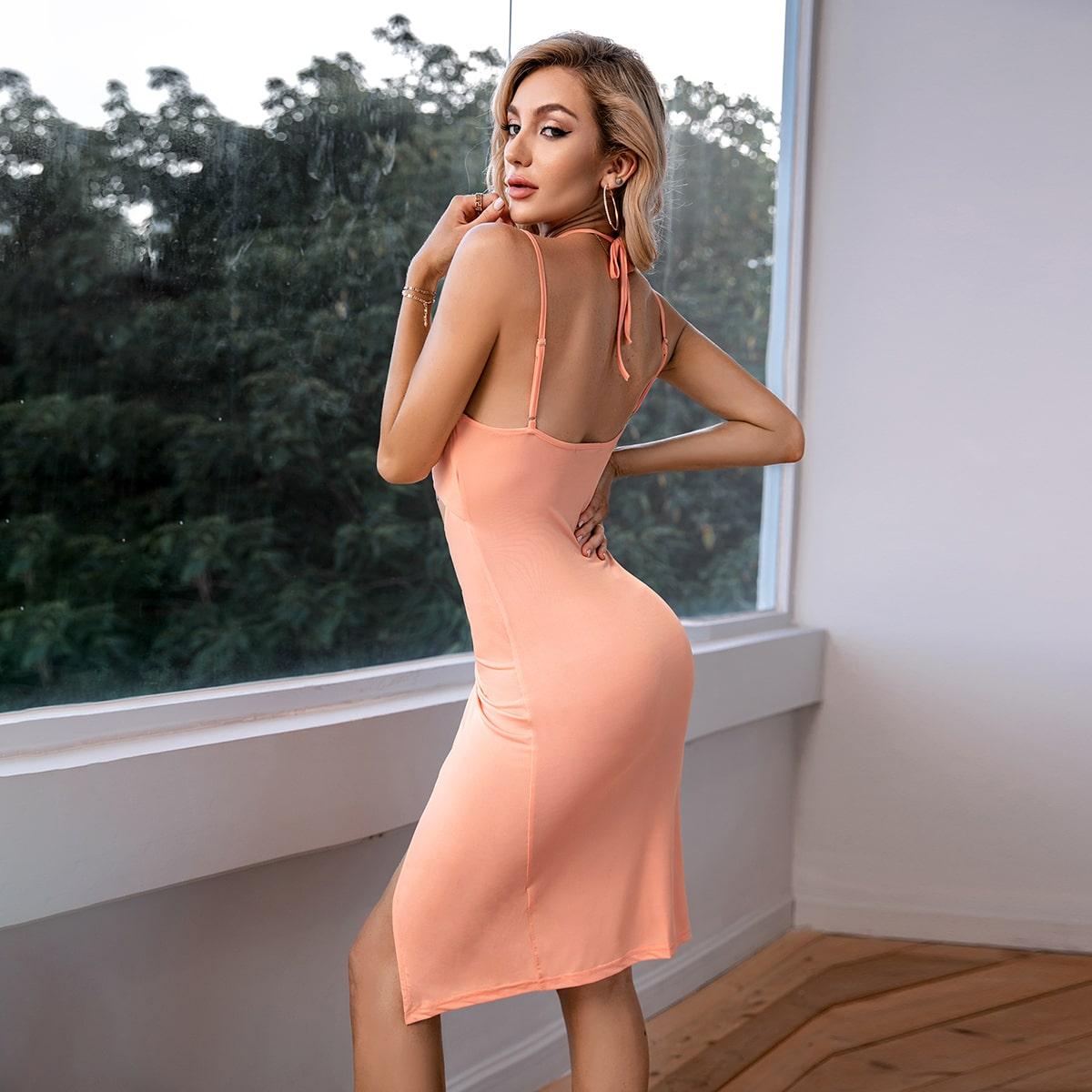 Платье на бретелях с разрезом с разрезом SheIn swdress31210608067