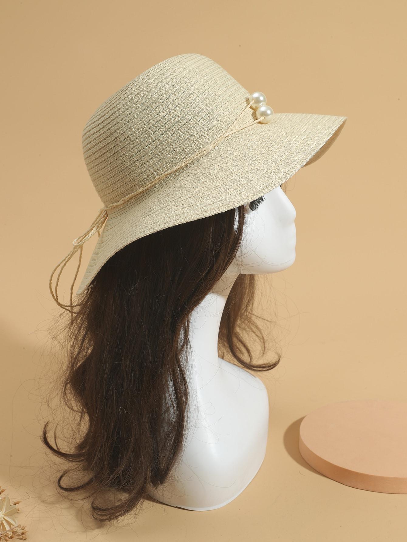 faux pearl decor straw hat