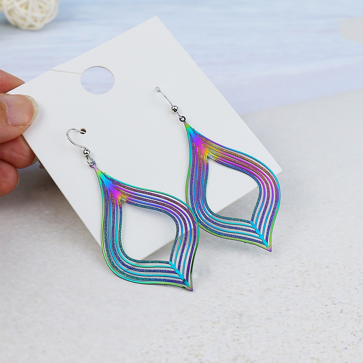 Ombre Hollow Out Drop Earrings