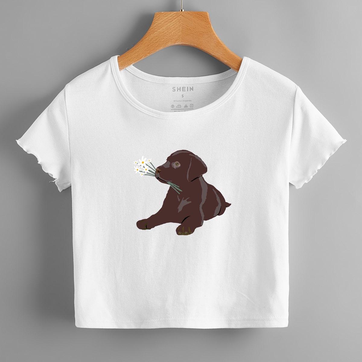 Dog Print Crop Tee, SHEIN  - buy with discount