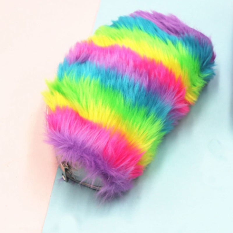Rainbow Stripe Plush Pencil Bag, Multicolor