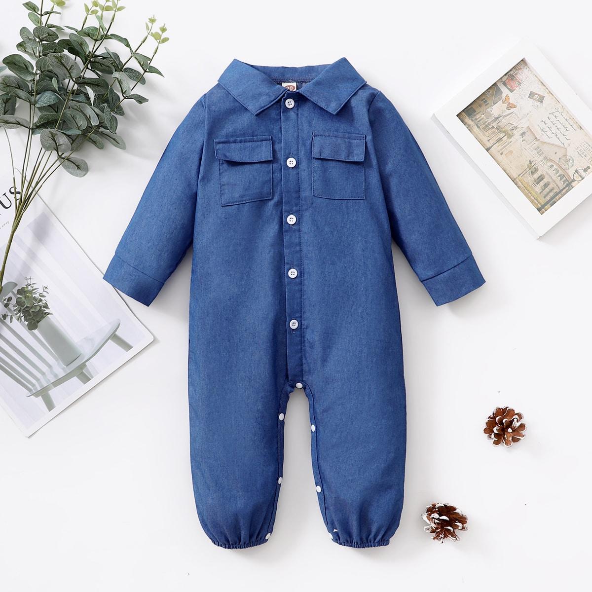 Детский на пуговицах Джинсовая рубашка Комбинезон от SHEIN