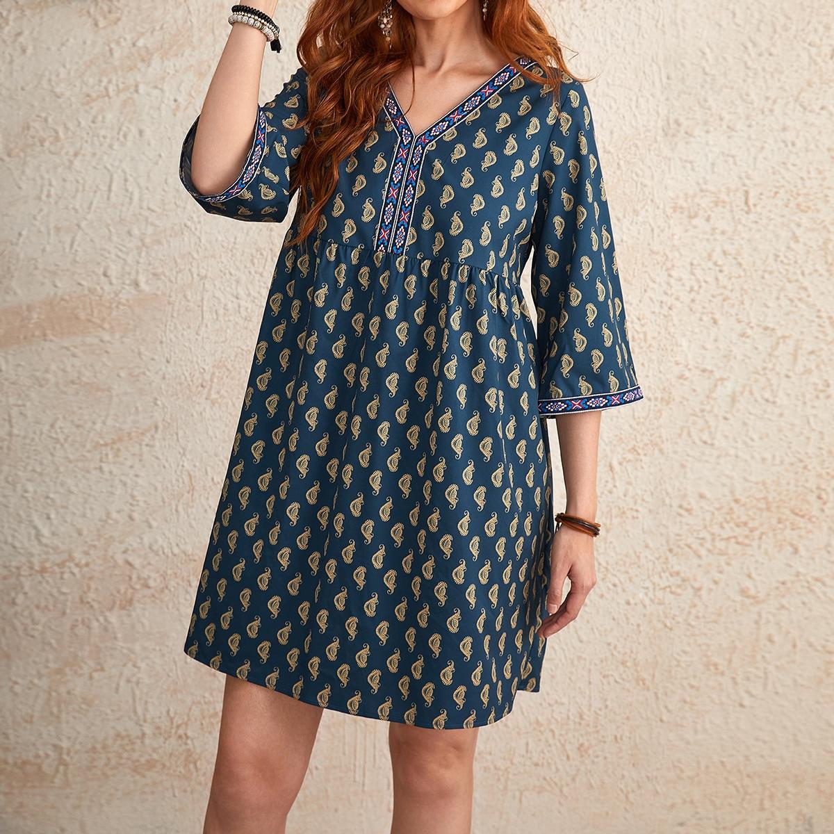 Flounce Sleeve Paisley Print Dress, SHEIN  - buy with discount