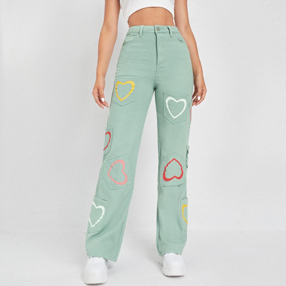 Широкие джинсы с принтом сердечка и высокой талией