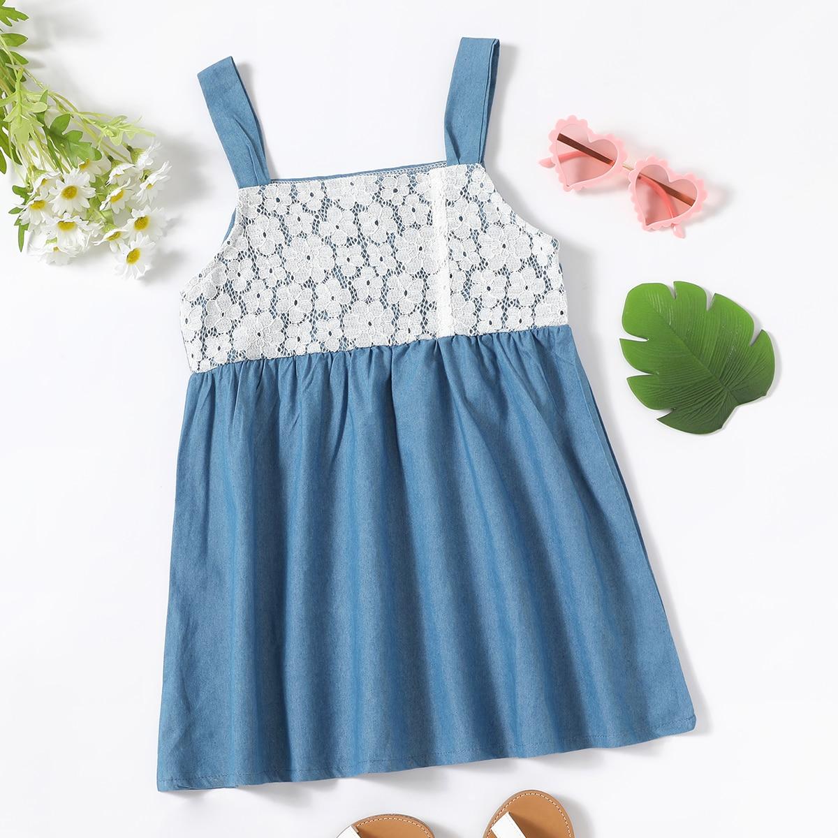 для девочек Платье на бретелях с кружевной отделкой джинсовый SheIn skdress25210602351